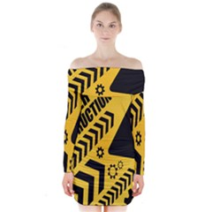 Under Construction Line Maintenen Progres Yellow Sign Long Sleeve Off Shoulder Dress