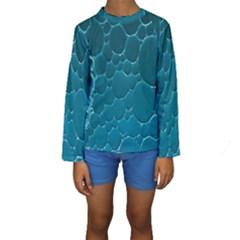 Water Bubble Blue Kids  Long Sleeve Swimwear