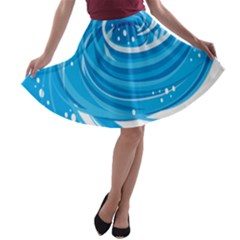 Water Round Blue A-line Skater Skirt