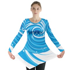 Water Round Blue Long Sleeve Tunic