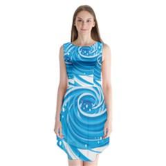 Water Round Blue Sleeveless Chiffon Dress