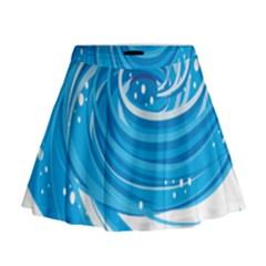 Water Round Blue Mini Flare Skirt