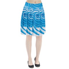 Water Round Blue Pleated Skirt