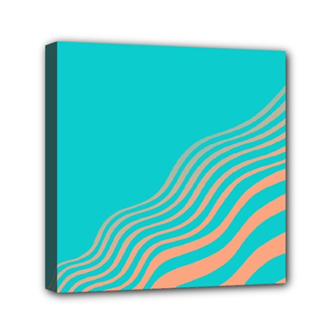 Water Waves Blue Orange Mini Canvas 6  x 6