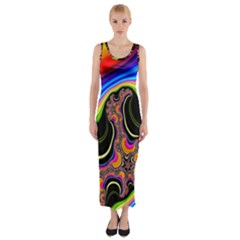 Wave Color Fitted Maxi Dress