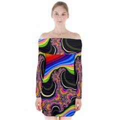 Wave Color Long Sleeve Off Shoulder Dress