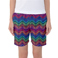 Wave Chevron Rainbow Color Women s Basketball Shorts