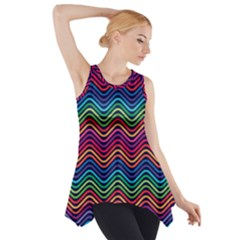 Wave Chevron Rainbow Color Side Drop Tank Tunic