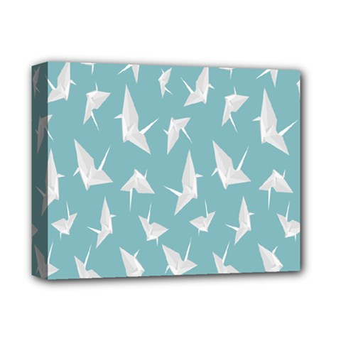 Origamim Paper Bird Blue Fly Deluxe Canvas 14  X 11