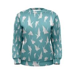 Origamim Paper Bird Blue Fly Women s Sweatshirt