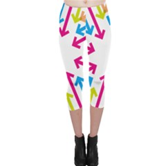 Arrows Pink Blue Orange Green Capri Leggings