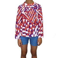 Bright  Memphis Purple Triangle Kids  Long Sleeve Swimwear