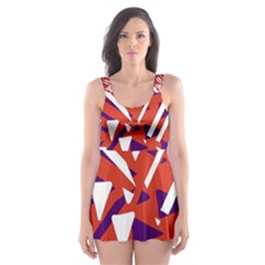 Bright  Memphis Purple Triangle Skater Dress Swimsuit