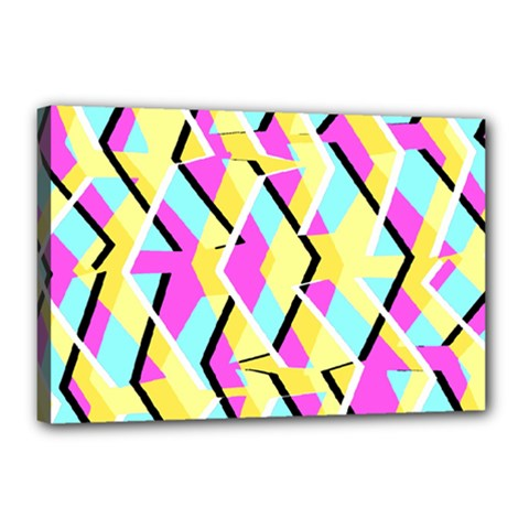 Bright Zig Zag Scribble Yellow Pink Canvas 18  x 12