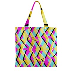 Bright Zig Zag Scribble Yellow Pink Zipper Grocery Tote Bag
