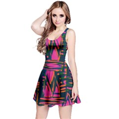 Bright Zig Zag Scribble Pink Green Reversible Sleeveless Dress