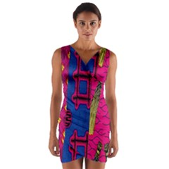 Broom Stick Gold Yellow Pink Blue Plaid Wrap Front Bodycon Dress