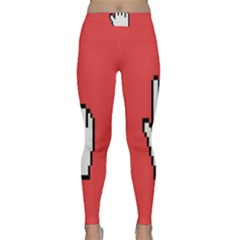 Cursor Index Finger White Red Classic Yoga Leggings