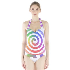 Circle Purple Blue Red Green Yellow Halter Swimsuit