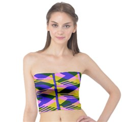 Crazy Zig Zags Blue Yellow Tube Top