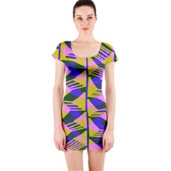 Crazy Zig Zags Blue Yellow Short Sleeve Bodycon Dress