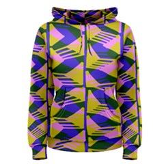 Crazy Zig Zags Blue Yellow Women s Pullover Hoodie