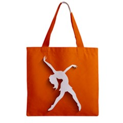 Dance Dancing Orange Girl Zipper Grocery Tote Bag