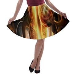 Digital Art Gold A-line Skater Skirt