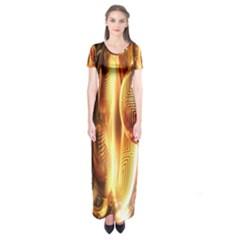 Digital Art Gold Short Sleeve Maxi Dress