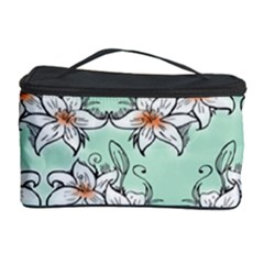 Flower Floral Lilly White Blue Cosmetic Storage Case