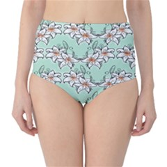 Flower Floral Lilly White Blue High-Waist Bikini Bottoms