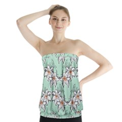 Flower Floral Lilly White Blue Strapless Top