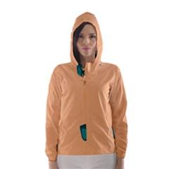 Glasses Blue Orange Hooded Wind Breaker (women)