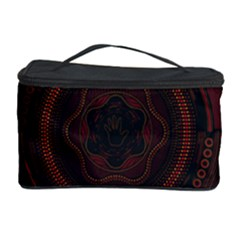 Hand Illustration Graphic Fabric Woven Red Purple Yellow Cosmetic Storage Case