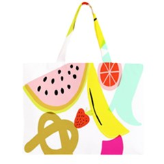 Fruit Watermelon Strawberry Banana Orange Shoes Lime Large Tote Bag