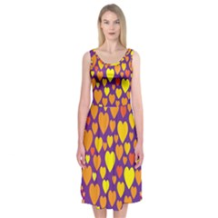 Heart Love Valentine Purple Orange Yellow Star Midi Sleeveless Dress