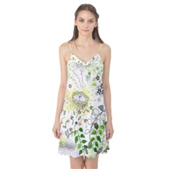 Flower Flowar Sunflower Rose Leaf Green Yellow Picture Camis Nightgown