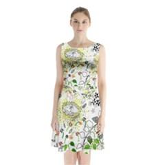 Flower Flowar Sunflower Rose Leaf Green Yellow Picture Sleeveless Chiffon Waist Tie Dress