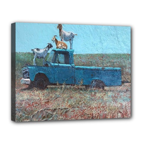 Goats on a Pickup Truck Canvas 14  x 11