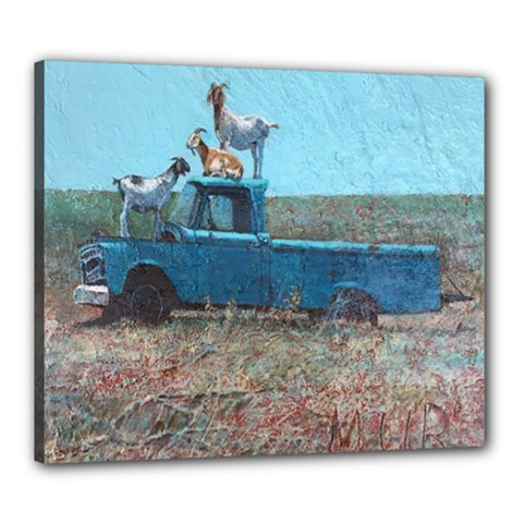 Goats On A Pickup Truck Canvas 24  X 20