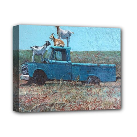 Goats On A Pickup Truck Deluxe Canvas 14  X 11