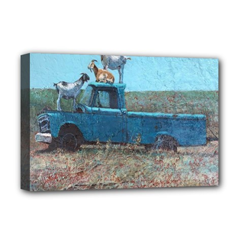 Goats On A Pickup Truck Deluxe Canvas 18  X 12