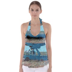 Goats On A Pickup Truck Babydoll Tankini Top