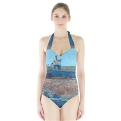Goats on a Pickup Truck Halter Swimsuit
