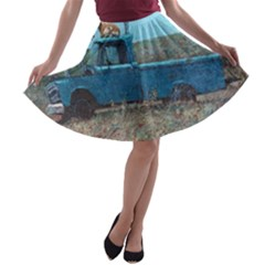 Goats on a Pickup Truck A-line Skater Skirt