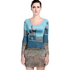 Goats on a Pickup Truck Long Sleeve Velvet Bodycon Dress