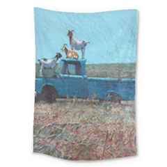 Goats On A Pickup Truck Large Tapestry