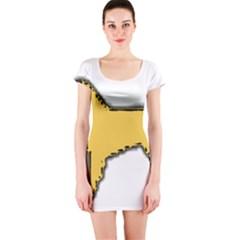 Estrela Mountain Dog Silo Color Short Sleeve Bodycon Dress