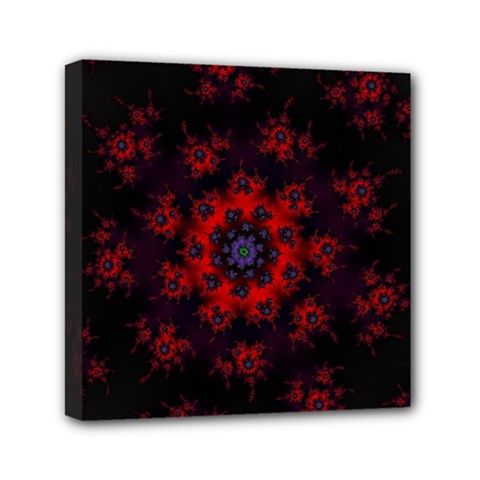Fractal Abstract Blossom Bloom Red Mini Canvas 6  X 6