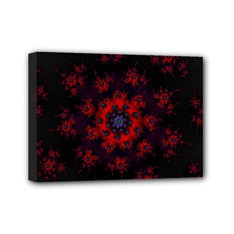 Fractal Abstract Blossom Bloom Red Mini Canvas 7  X 5